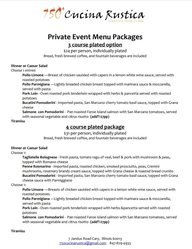 Private Event Menu page 1